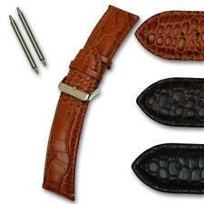 Genuine leather watch strap crocodile grain gold & silver buckle 18-22mm band