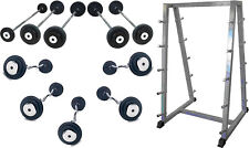 10 x Commercial Gym Fixed Weight Barbells & EZ Curl Bars & Storage Rack 10-20KG