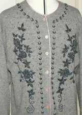 BEAUTIFUL HAND BEADED LAMBSWOOL LADIES CARDIGAN/size L