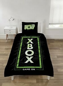 "Xbox Single Duvet Cover Bedding Set ""Game On"" Black / Green Gamers Gift Neon"