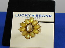 Lucky Brand Goldtone Pale Yellow Stone MOP Flower Ring 7 JWEL2029 $39