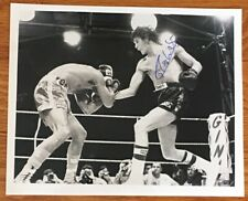Boxing CARLOS MONZON Autograph Signed 8x10 B&W Action Photo COA