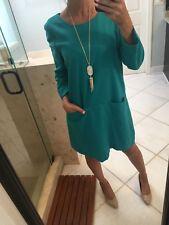 J.CREW $188 WOOL Stretch SHEATH DRESS 12 Green BLUE WORK SUITING
