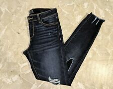 a.n.a Womens Distressed Dark-Wash Patched Denim Jeggings Skinny Jeans Size 4