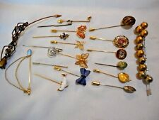 Vtg STICK PIN LOT 20 Gold & Silver Tone Butterflies Dolphin Monogram