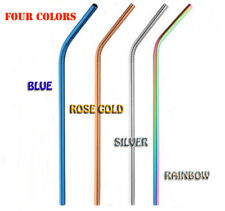 10 Pcs Set Stainless Steel Drinking Straws Various Color Metal Reusable & Brush