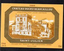 SAINT JULIEN 2E GCC ETIQUETTE CHATEAU DUCRU BEAUCAILLOU 1989 75 CL   §28/08/18§