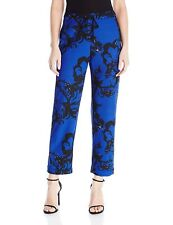 Lysse Womens Crepe Surf Crop Pants Royal Blue Floral Print Pockets Joggers NWT