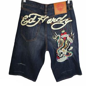 Ed Hardy Men's Denim Shorts 32 Christian Audigier McQueen Wash New York City NWT