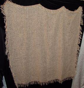 "Large Woven Scarf Wrap Vtg Beige 41"" x 44"" Vintage Shawl"
