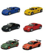 """6PC SET: 5"""" Kinsmart Matte Porsche Cayman S 911 GT3 RS Carrera GT Diecast Car"""