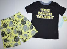 CUTE Kids Circo Sports Ball Black/Yellow Pajama PJ Set Shirt & Shorts Boys S 6/7