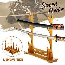 1/2/3/4-Tier Samurai Sword Holder Solid Wood Bracket Rack Hanger Display