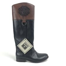 Frye Boots 6.5 Melissa Logo Black Brown Antiqued Polished Leather 76436 $438