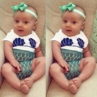 Newborn Kids Baby Girls Infant Mermaid Rompers Bodysuit Playsuit Clothes Outfits