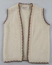 Icewool Iceland Made Women's 100% Virgin Wool Open Front Ivory Sweater Vest - M