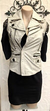 Designer SUPERDRY Womens Gorgeous Cream Leather Vest Jacket ~ Size XS ~ NEW