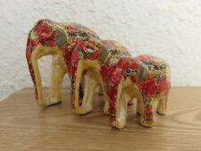 Red Floral Themed Kashmiri Papier Mache Elephants | Family of 3 | L, M & S