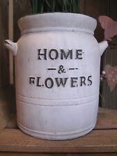"Shabby Pflanztopf  groß ""Home & Flowers""  Beton Landhaus Garten Kartoffeltopf"
