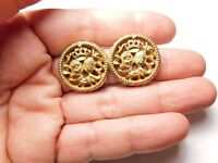 Signed Bergere Crown Coat Of Arms Crest Clip On Earrings Vintage