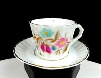"ENGLISH PORCELAIN PINK BLUE FLORAL GOLD TRIM RIBBED 2"" DEMITASSE CUP AND SAUCER"