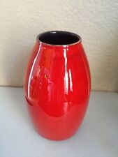 "AMANO RED VASE MID CENTURY MODERN MODERNIST ART POTTERY GERMANY 5"" H X 7"" W"