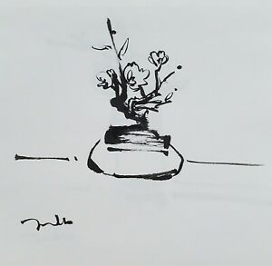 JOSE TRUJILLO - Expressionism Pen Ink Paper 6x6  Abstract STILL LIFE FLORAL 13