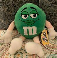 "M&M'S World NYC Green M&M Plush Stuffed Female Girl Doll 16"" NWT New York City"