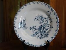 """Ancienne ASSIETTE PLATE Porcelaine Opaque GIEN 19e décor floral bleu """"Chardons"""""""