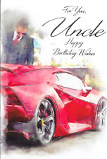 FOR YOU UNCLE BIRTHDAY CARD ,RED SPORTS CAR  THEME,MALE,TRADITIONAL(N7).