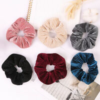 Stripe Velvet Scrunchies Solid Color Hair Rope Ponytail Elastic Hair Ties F016