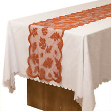 CO_ Maple Leaf Lace Tablecloth Dining Table Runner Cover Thanksgiving Day Decor