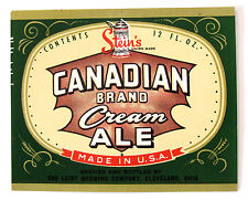 Leisy Brewing Company CANADIAN BRAND CREAM ALE beer  label OH 12oz No ABW