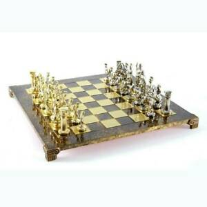 Manopoulos Greek Roman Army Large Chess Set - Brass Nickel Pawns - Brown Board
