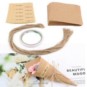 50x/set Confetti Handcrafted Paper Cones Kraft Wedding DIY Party Decor Rustic