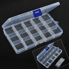 15 Compartiments Plastique Boîte Rangement Étui Coffret Stockage Bijoux Perle