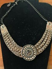 LEATHEROCK Swarovski Crystal & Leather Collar Necklace Brown / NWT