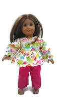 Flannel Pajamas 18 in Doll Clothes fits American Girl Dolls Frogs Rainbows Heart