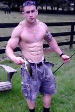 Shirtless Male Muscular Hunk Country Dude Fishing Hard Body Jock PHOTO 4X6 F29
