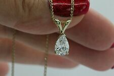 "2Ct Solitaire Pendant Necklace And 18"" Chain Solid 14k Yellow Gold Pear Shaped"