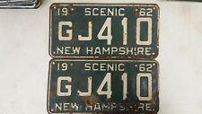 1962 NEW HAMPSHIRE Scenic License Plate GJ 410 Pair