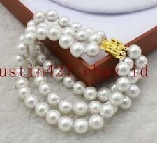 Sea Shell Pearl Gemstone Bracelet 7.5'' Aaa New 3 Row 8mm 10mm White South