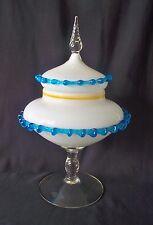 Large HB Covered Milk Glass Pedestal Bowl w Applied Blue String Glass