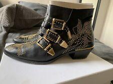 AUTHENTIC CHLOE SUSANNA GOLD STUDDED BLACK BOOTS, Size 41EU