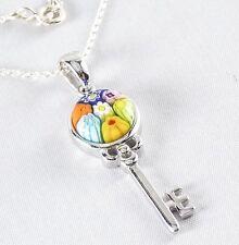 Genuine Murano Millefiori Glass Key Necklace 925 Sterling Silver 18