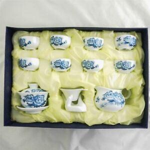 Chinese Porcelain Tea Set Oriental with 8 Cups Teapot Infuser Jug Giawan