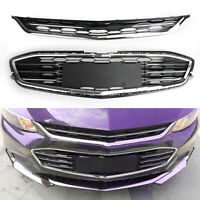 2PCS Upper + Lower Front Bumper Mesh Grille Grill For Chevy Malibu 2016-2017