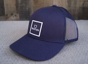 New Brixton Alpha Square Blue Mens Mesh Snapback Cap Hat RHTBRX-40
