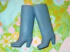 Vintage Medium Blue High Doll Boots Marked Korea Vgc