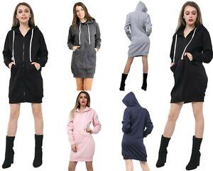 Women Hoodies Casual Zipper Sweatshirt Coat Ladies long hoodie Plain Mini jumper